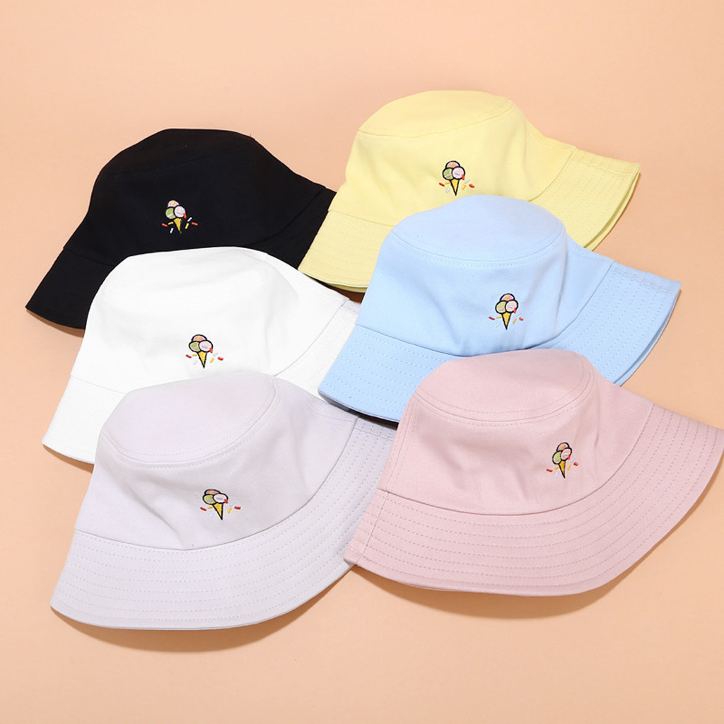 2020 Casual Bucket Hat Women Cute Print Cap Embroidery Canvas Foldable Outdoors Chapeu Bucket Hat Fisherman Sun Hat Cap Muts #C1