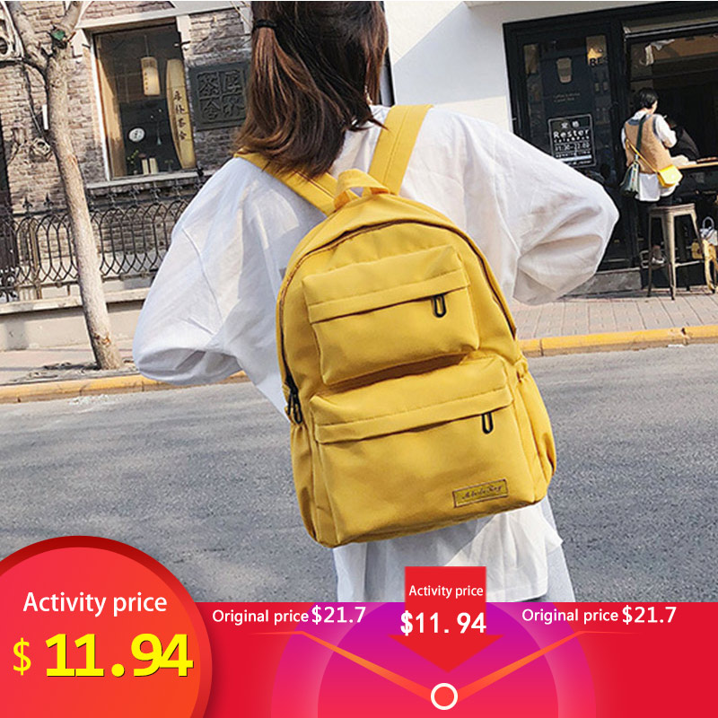 Female Solid Color Travel Bag Waterproof Nylon Backpack Fashion School Bags For Teens High Quality Women Laptop Phone Backpack