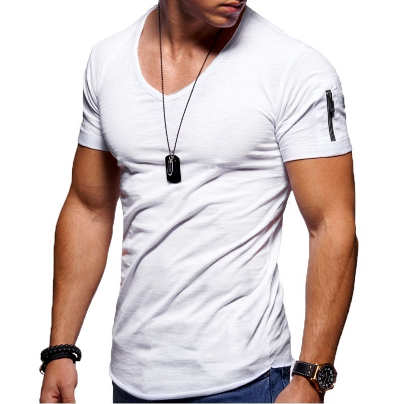 New Plus Size T Shirt Men Fashion Slim Fit T Shirt Men trend V Neck Custom brand Short Sleeve Tees Tops Arm zipper T-Shirts Male