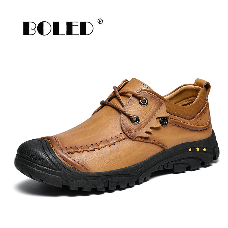 Fashion Bottom Stitch Men Casual Shoes Full Grain Leather Lace Up Ankle Anti Skid Outdoor