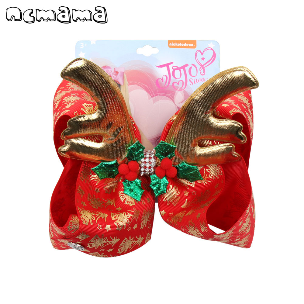 7'' Jojo Siwa Bows Hair Bows For Girls Rhinestones Hairclips Christmas Print Elk Hairgrips Party Kids Hair Accessories Jojo Bows