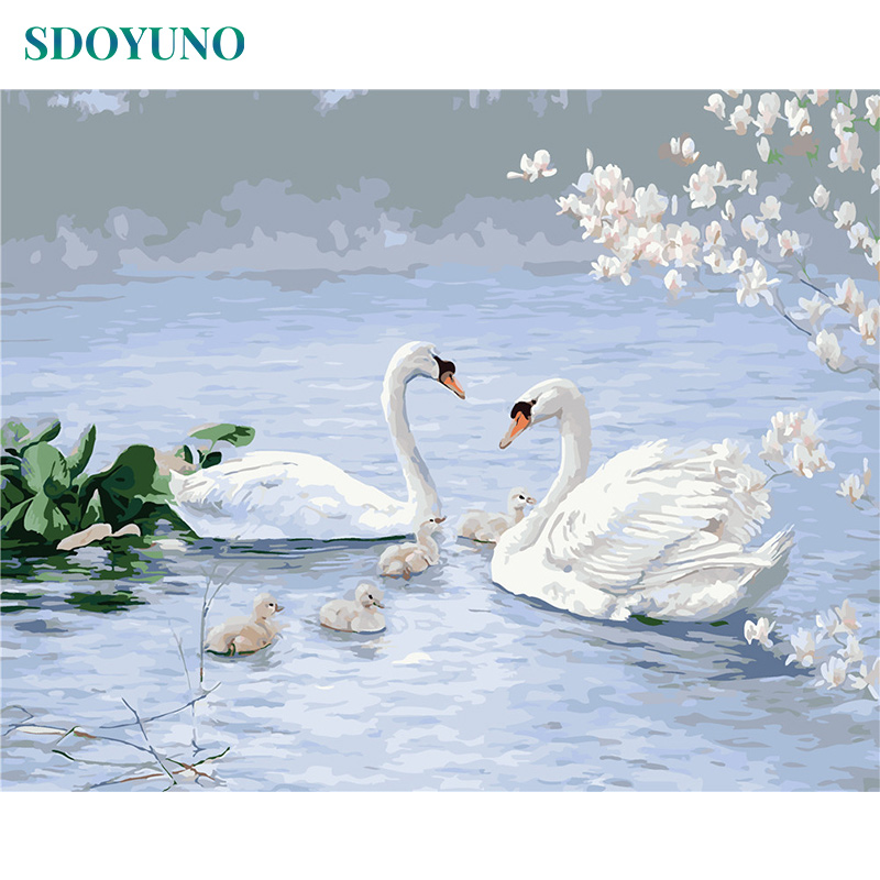 SDOYUNO Paint By Number Canvas Painting Kits DIY 60x75cm DIY Frameless Swan Painting By Numbers Home Decoration Wall Art