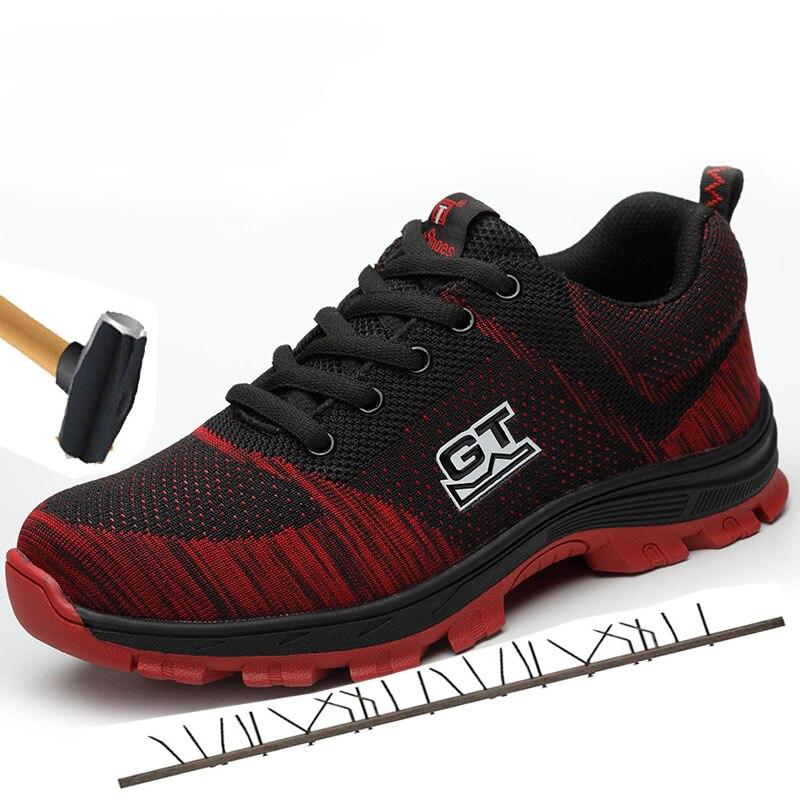 Bottes de travail de mode bottes militaires bottes de sécurité de travail chaussures d'orteil en acier bottines Anti-fracassant Piercing chaussures de sécurité hommes Sneaker