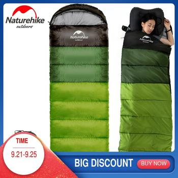 NatureHike Outdoor Camping Sleeping Bag Portable Ultralight Hiking Travel Sleeping Bag Splicing Waterproof Thermal Adult naturehike new waterproof thicken goose down square sleeping bag outdoor hiking camping envelope style ultra light sleeping bag