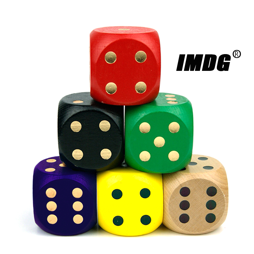 Wood Dice 5cm Large Size Colorful Dice Solid Dotted Rounded Toy Entertainment Game Props