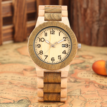 Elegant Quartz Wooden Watches Men Special Maple Strap Wood Watch for Female Typical Large Dial with Calendar Clock herren uhren