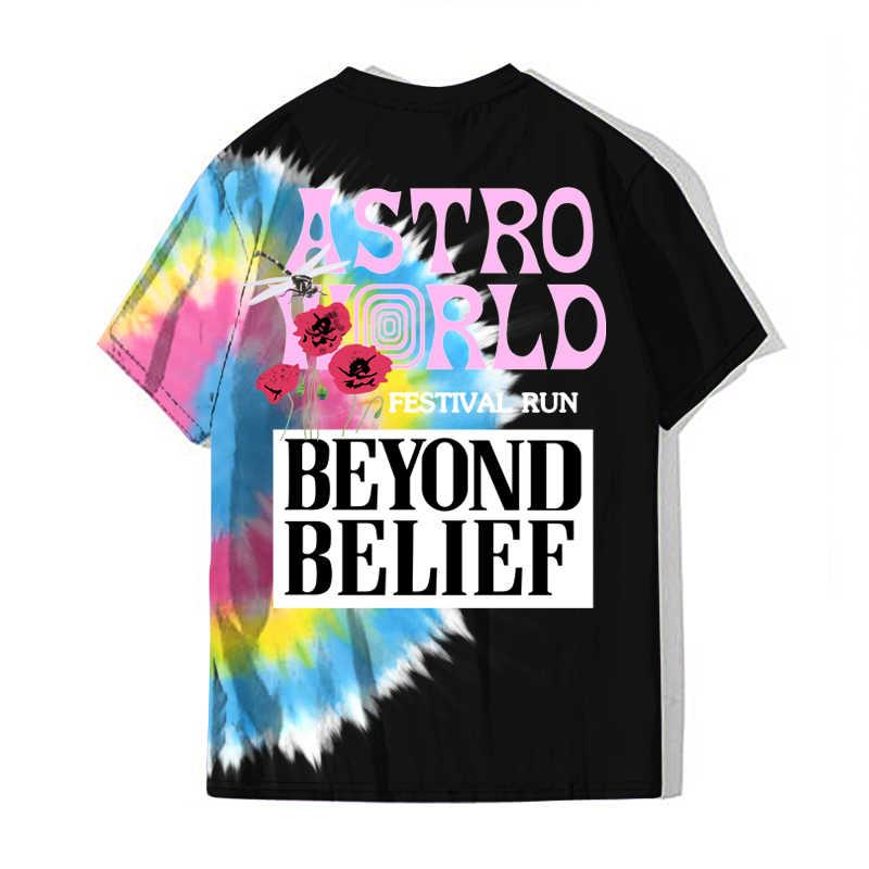ASTROWORLD Travis Scott Astroworld 2020 festivali koşu tişörtü moda Hip Hop Harajuku Tee Tops Camiseta