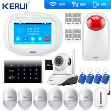 KERUI K52 büyük dokunmatik TFT renkli ekran kablosuz güvenlik Alarm WIFI GSM Alarm sistemi APP kontrol Wifi kamera RFID klavye