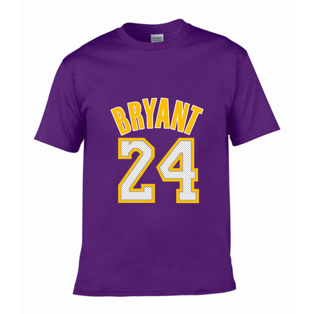 Men's high quality cotton T-shirt <font><b>short</b></font> sleeve cotton crewneck <font><b>Jordan</b></font> <font><b>23</b></font> and 24 BRYANT print men Tshirt casual mens t-shirt tops image