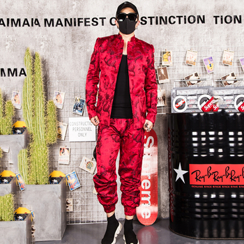 Jazz Dance Costumes Male Singer DJ Stage Mounted Men Hip Hop Paragraph DS Chinese Style Red Embroidered Jacket Pants DT1137