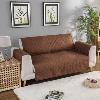 Dwustronna pikowana Sofa poszewki na kanapę fotel rozkładany Sofa pokrowce na psy domowe koty pokrowiec na meble można prać w pralce tanie i dobre opinie Połączenie zestaw Gładkie barwione Skośnym Plaid Sofa przekroju 100 poliester JF-005