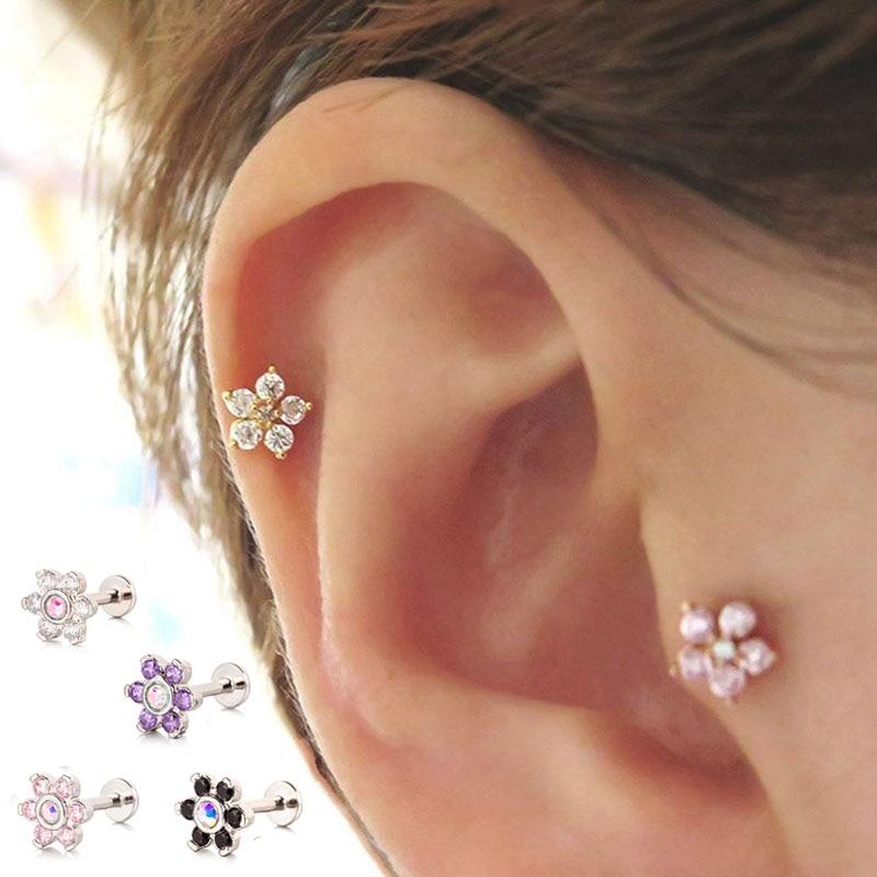 4-16PCS Stainless Steel 16G Zircon Labret Monroe Lip Ring Heart Star Tragus Helix Earring Stud Piercing Jewelry