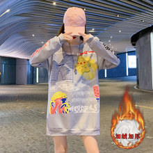 Winter Warm Students Sweet Style Sweatshirt Cartoon Print Designers Loose Oversize Women Shirts Sexy Drop-shoulder Pullovers(China)