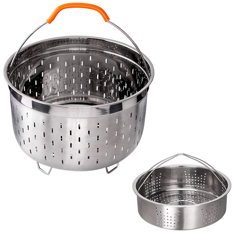 Stainless Steel Steamer Basket Compatible With Accessories 6 QT Steamer Insert Including Handles And Feet