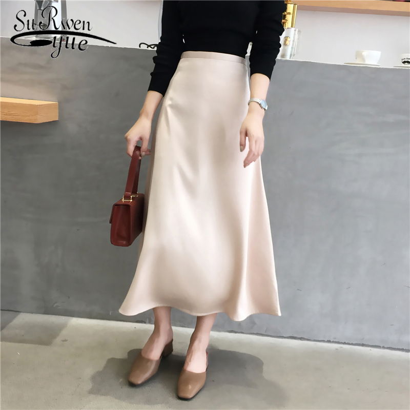 Korean 2020 Spring Silk Satin Skirt Women High Waist Midi Skirt Summer Elegant Ladies Vintage Ruffled Skirt 8815 50