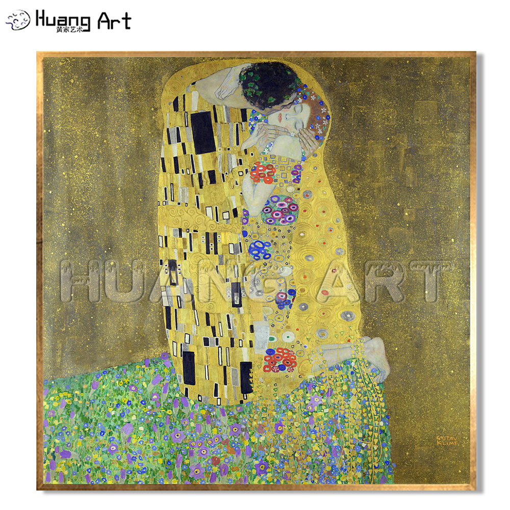 Famous High Quality KISS Painting Hand Painted Oil Painting on Canvas for Room Decor Imitation Painting Gustav Klimt Wall Art