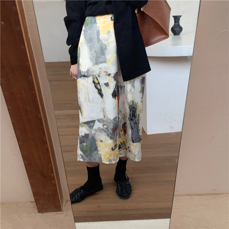 Hzirip Stylish Chic Oil Painting Slender High Waist Lady 2020 Printed Sweet Retro All Match Vintage Women A-Line Long Skirts