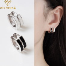 XIYANIKE 925 Sterling Silver New Trendy Black White Circle Earrings Female Fashion Sexy Hot Handmade Jewelry Couple Gift