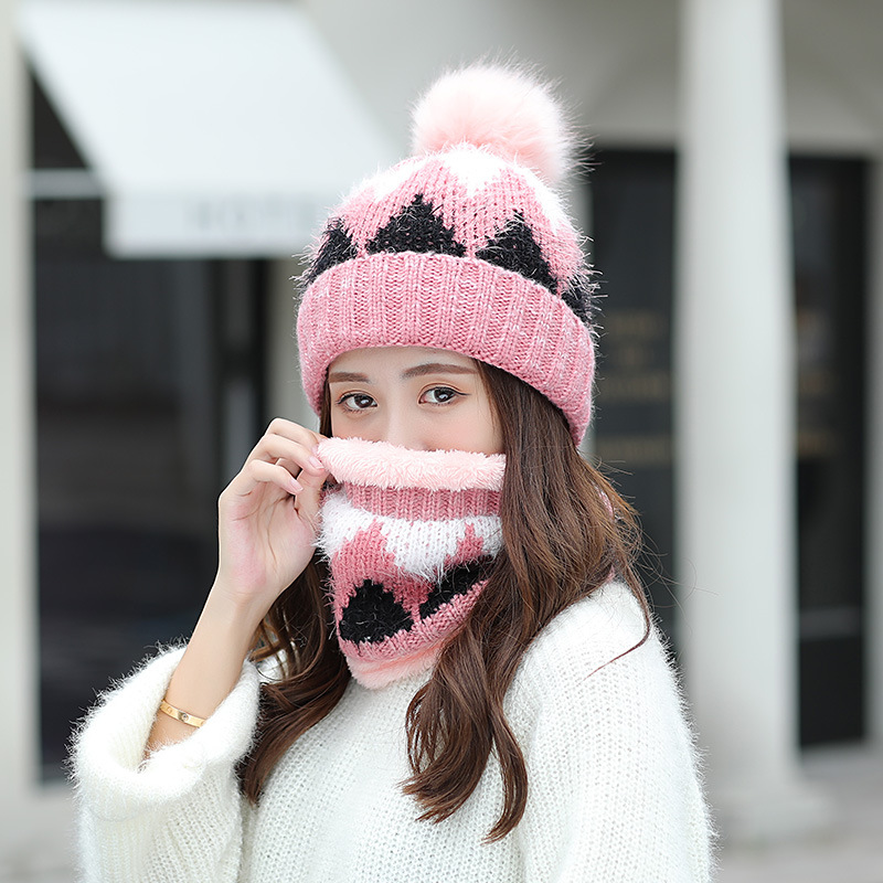 Pom Pom Ball Winter Hat And Ring Scarf Set Women Classic Plus Thick Winter Warm Hats Scarves Female Kitted Thicken Hat And Scarf