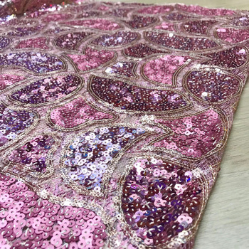 8 colors allover embroidered African sequins net lace fabric pink French lace fabric high quality for bling bling dress JYF218