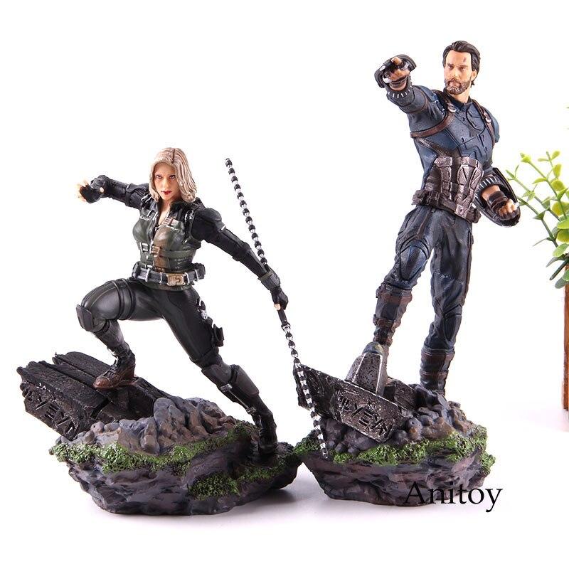 Marvel Avengers Action Figure Iron Studios Statue Captian America Black Widow 1/10 Scale Figure PVC Collectible Model Toy