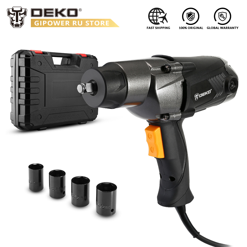 DEKO DKEW1100 1100W Electric Impact Wrench Corded 1/2-Inch , 450N.m Max Torque, 2,200rpm Speed, Two-Direction Rocker Switch