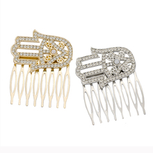 Alloy Fatima Palm Shape Diamond Hair Comb Eye Hairpins Accessories Headwear Pearl Crystal Clips