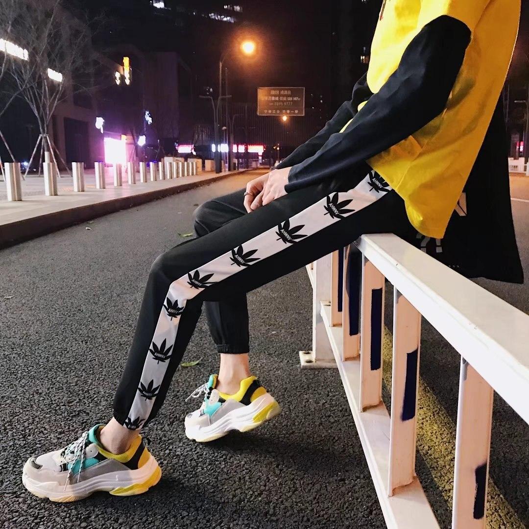 2018 Spring And Autumn Casual Korean-style Teenager Casual Sports Pants Beam Leg Slim Fit Elastic Leaves Capri Pants