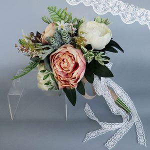 Image 4 - Europese Vintage Bridal Wedding Boeket Kunstmatige Dusty Pioen Bloemen Nep Vetplant Kant Lint Bruidsmeisje Party Decor