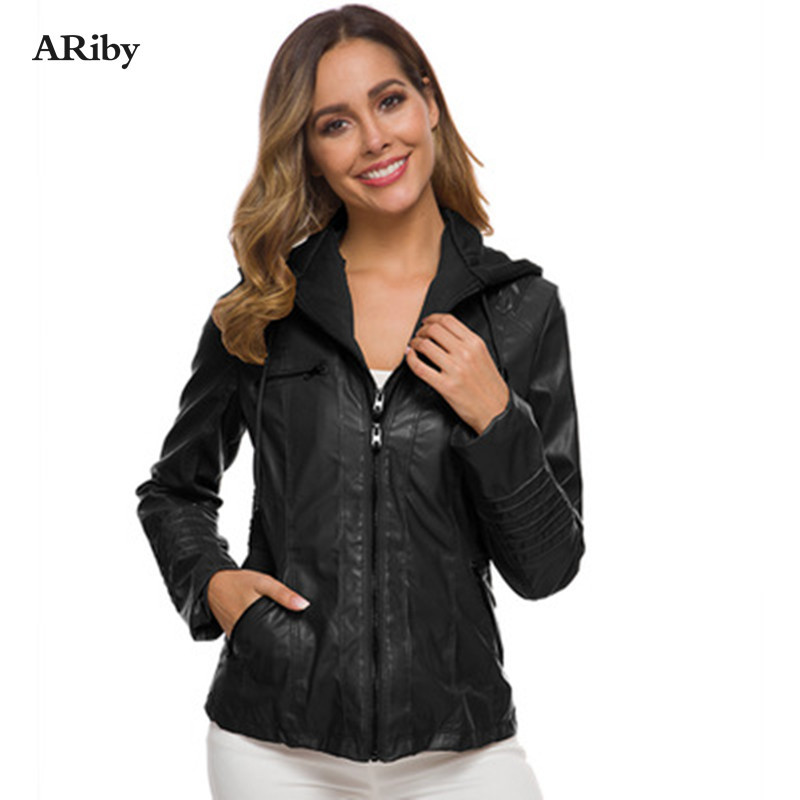 ARiby Leather Suede Jackets Autumn Winter New Fashion Women Faux Leather Casual Hooded Plus Size <font><b>7XL</b></font> Windproof Solid Color <font><b>Coats</b></font> image