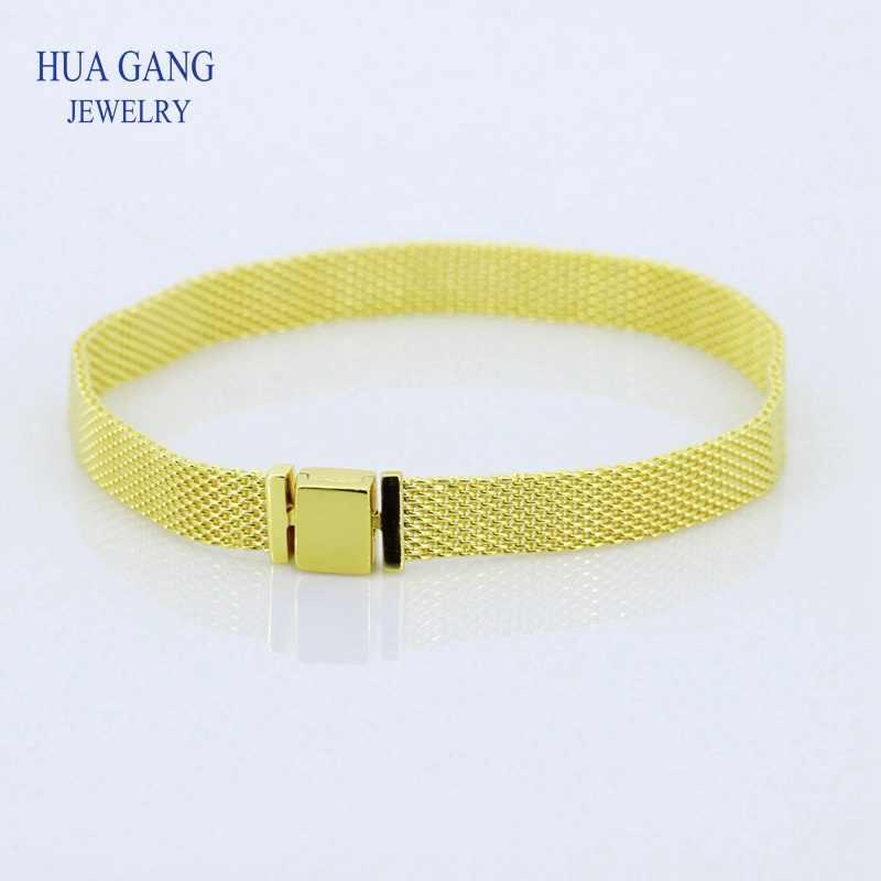 925 Sterling Silber Goldene Armband Reflexions Mesh Armband fit Pandor Reflexion & Sicherheit Ketten Charme Für Frauen DIY Schmuck
