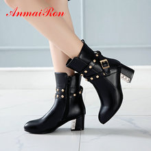 ANMAIRON Shoes Woman PU Fashion Slip-On Ankle Round Toe Square Heel  Winter Boots Women Short Plush Ankle Boots for Women 34-43 стоимость