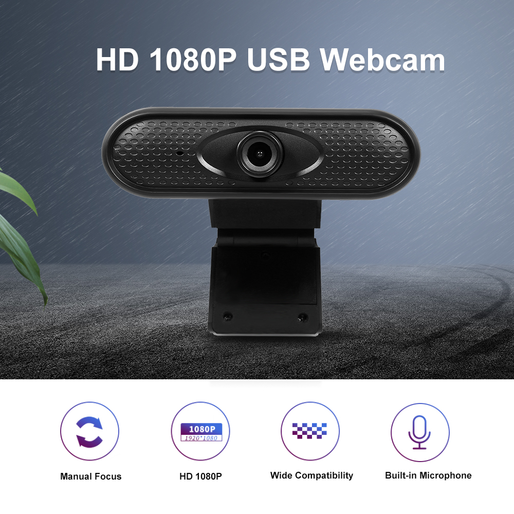 HD Webcam 1080P with Microphone USB Desktop Web Camera Video Cam PC Laptop for Video Calling and Recording Built-in Mic 360/° Flexible Rotatable Clip
