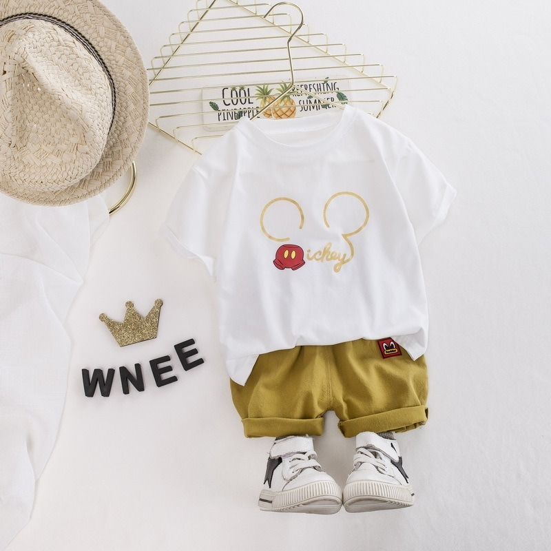 Baby Boy Girl Summer Sets Cotton Infant Children Clothes Cartoon Print Costume for Kids 1 2 3 4 Years Short Outfits 2 Pieces 2