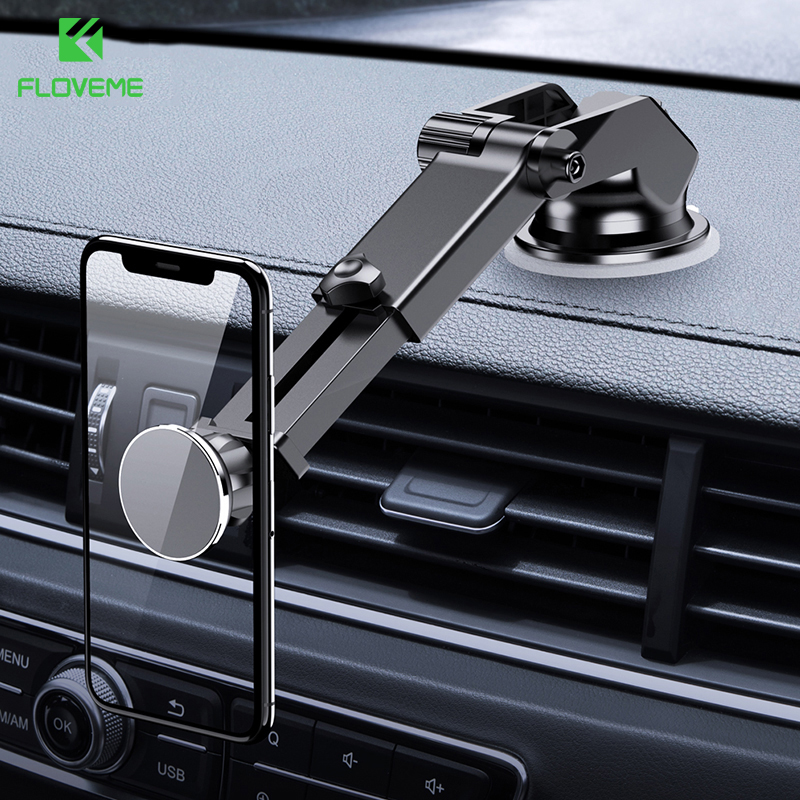 FLOVEME Strong Magnet Magnetic Car Phone Holder For Phone Center Console Suction Cup Phone Holder Car Mount Soporte Movil Coche