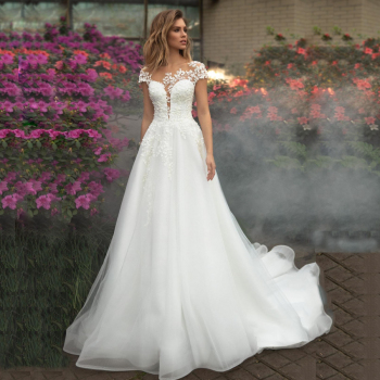 Jiayigong Wedding Dresses Vestido De Noiva Short Sleeves Scoop Neck Illusion Flowers Applique A-line Tulle Gowns - discount item  50% OFF Wedding Dresses