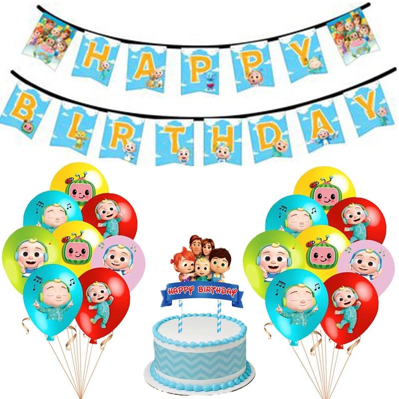 12 pçs cocomelon tema balões de aniversário conjunto desenhos animados decorações de festa de família suprimentos de festa crianças brinquedos do chuveiro do bebê látex balões