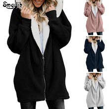 2019 Winter Women Hoodies Long Coat Solid Zipper wool cashmere Casual Female Jacket Hoody Ladies Tops Plus Size S-5xl