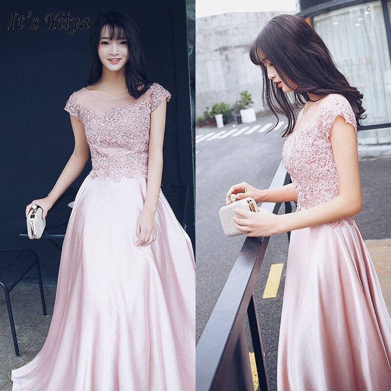 It's Yiiya Evening Dress Elegant Pink Beading Crystal Evening Dresses Long O-neck Formal Gowns Plus Size Robe De Soiree LF158