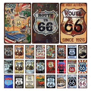 Route 66 Metal Retro Sign Vintage Plaque Motorcycle Tin Sign Wall Poster Home Decor Garage Bar Metal Plate Crafts Iron Painting