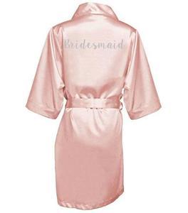Image 4 - dark pink robe silver letter kimono personalised satin pajamas wedding robe bridesmaid sister mother of the bride robes