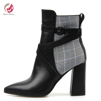 Original Intention Fashion Grids Buckles Ankle Boots Woman Pointed Toe Chunky High Heels Elegant Office Woman Shoes Size 6- 9.5