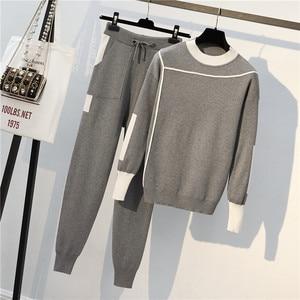 Women Two Piece Set Tracksuits Women Winter Woolen Knitted Warm Sweater Harem Pants Suit Casual Women Sets Winter Clothes
