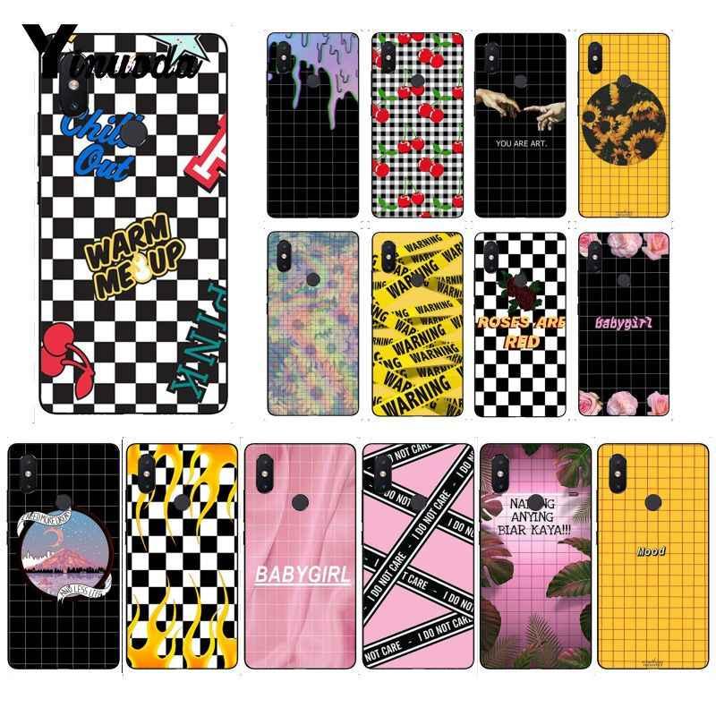 Yinuoda ekose damalı dama tahtası modelleri siyah xiaomi için telefon kılıfı Redmi8 4X 5A 7A 6A Redmi8 5 artı Redmi 5 note5