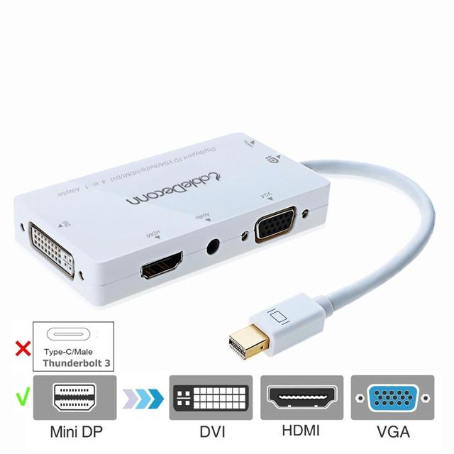 Złącza Thunderbolt Mini DisplayPort do VGA/HDMI/DVI/gniazdo Audio AUX adapter do Apple iMac laptopa Microsoft Sufacepro 2,3, 4