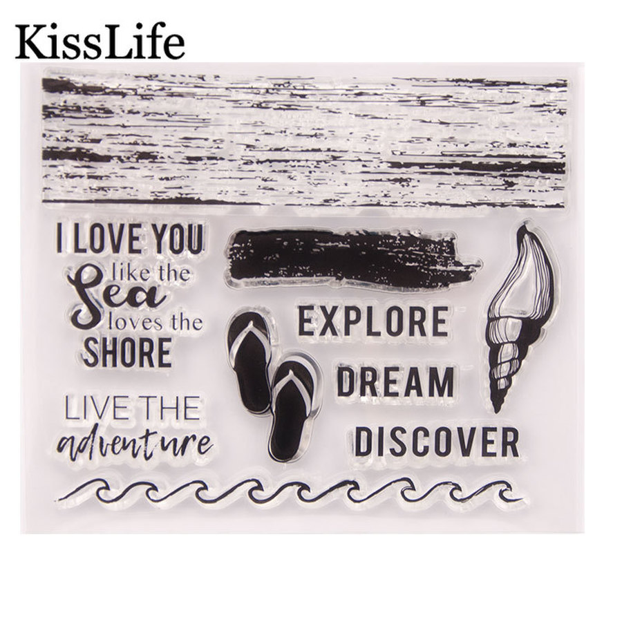 Wave rubber stamp for sea life decor.