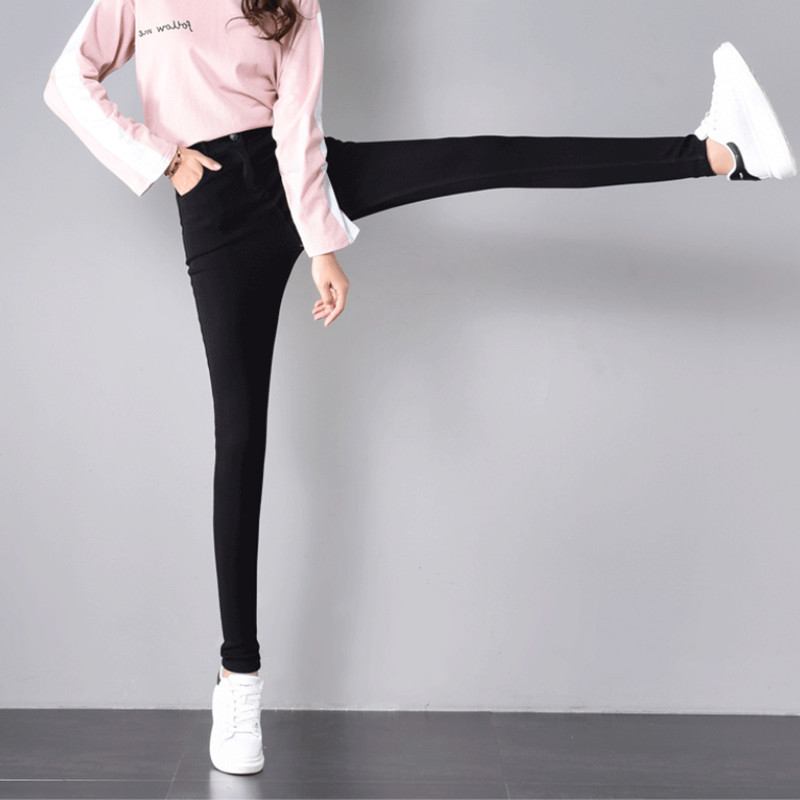 Leggings Women's Outer Wear Spring And Autumn 2019 New Style Korean-style Slimming Black And White With Pattern High-waisted Ski