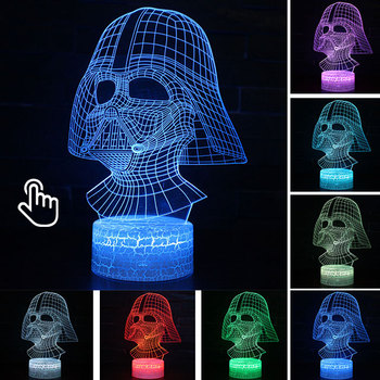 Star Wars Darth Vader Anime Figure Acrylic 3D Illusion LED Lamp Colourful NightLight Death Star Mask Yoda Model Toys Child Gift 20
