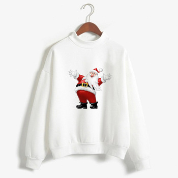 Christmas Hoodie Women White Print Pullovers Autumn Winter Ladies Fashion Vintage Pattern Hooded Top Harajuku Full Sleeve Sweatshirt Sudadera Muje