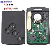 Jingyuqin 4 botões remoto chave do carro cartão inteligente fob fsk 433 mhz pcf7952 chip para renault megane scenic laguna koleos clio